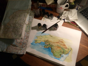 Painting and inking the maps